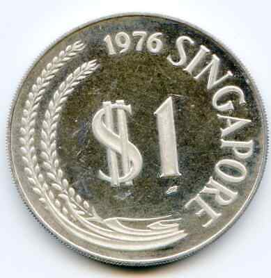 Singapore One Dollar 1976 Silver Proof no holder  lotmar5606