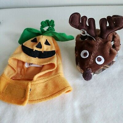 Holiday small pet costumes Pumpkin and Reindeer labeled for small cat
