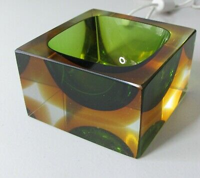 UNIQUE 70s RETRO CRYSTAL TRINKET DISH-CUBE SHAPED GREEN & AMBER GOLD