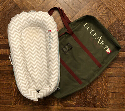 DockATot Deluxe+ Dock - Silver Lining (Chevron) - EUC with FREE Travel Case/Bag!