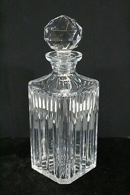 LR Crystal Square Decanter Manhattan Deco Style With Stopper