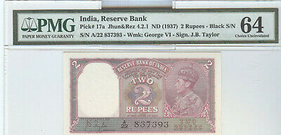Reserve Bank Of India, 1937 Two Rupees, Pmg Cu-64
