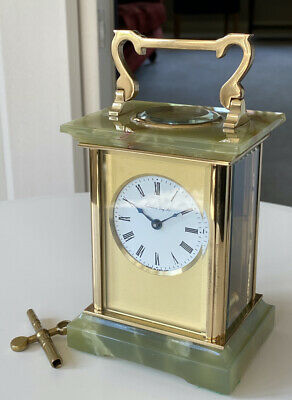 Brass & Onyx English Carriage Clock - by Henley England - MINT Condition