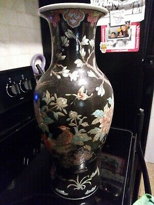 Large Chinese Porcelain Vase Painted Birds Flowers Butterflies Signed Colorful