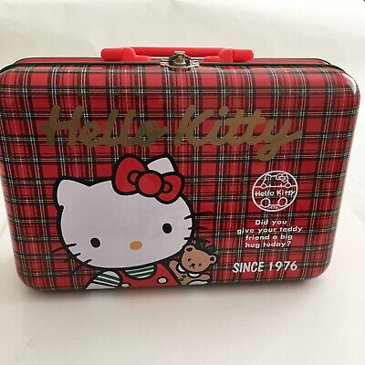 Vinatge Sanrio Hello Kitty Tin Box with Handle Tartan Plaid 1989 Teddy Bear