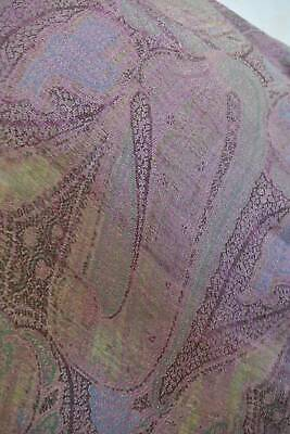 Antique c1850 woven wool & silk  paisley Crinoline shawl. Greens, pink & lilac.