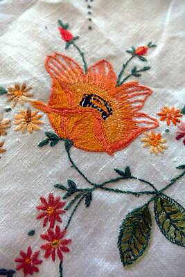 Vintage Irish linen hand embroidered tablecloth  - Bright Blooms & Butterflies
