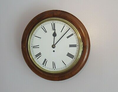 """Antique Chain Fusee 12"""" Dial Wall Clock in Mahogany Case - Cleaned & Serviced"""