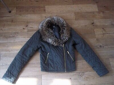 *New Look *Girls Khaki Trendy Short Style Faux Fur Detail Jacket Age 12-13 *Vgc*