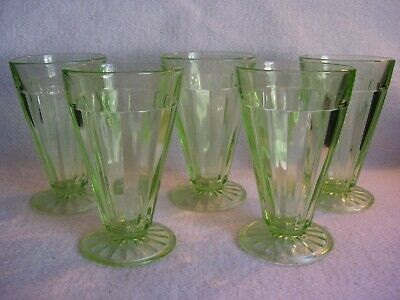5 Vintage Green Depression Glass Ribbed Fountain Sundae Parfait Footed Glasses