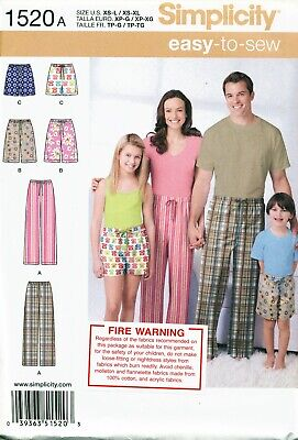 Simplicity Sewing Pattern 1520 Child's/Teens/Adults Xs-L/Xs-Xl Easy Pants/Shorts