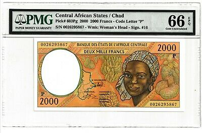 Central African States/Chad 2000 2,000 francs #603Pg PMG 66EPQ GEM UNCIRCULATED