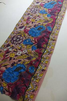 Vintage hand block printed cotton fabric trim edging - lions, hare & florals 64""