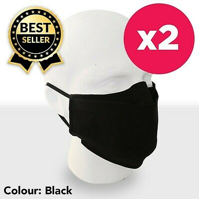 2-PACK  Reusable and Washable  Black Cotton Face Mask  Double-layer  Unisex