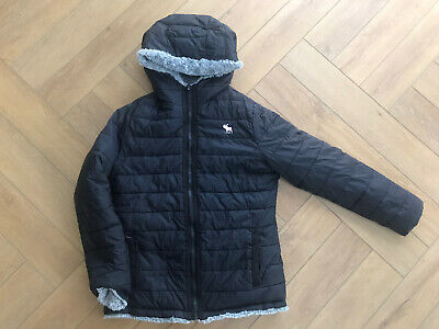 Abercrombie And Fitch Girls Jacket / Coat Reversable Fluffy Navy 12/13/14