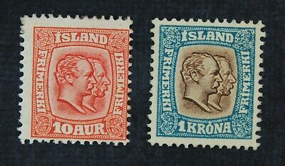CKStamps: Iceland Stamps Collection Scott#76 83 Mint H OG #76 Perf Tiny Thin