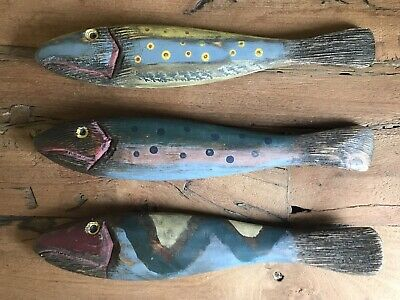 "Folk Art Carved Wood Fish 13"" Long"
