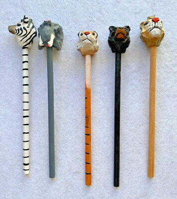 Sass & Belle Wooden Pencils Hand Carved Wild Animal Toppers Great Party Bag Gift