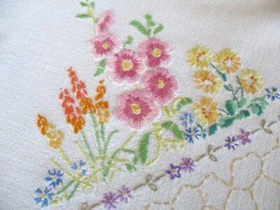 Vintage Tablecloth Hand Embroidered Cottage Garden Flowers