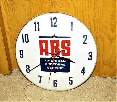 1950's AMERICAN BREEDERS SERVICE ABS wall round clock WORKS!