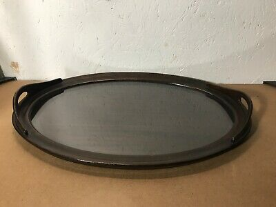 """Lovely Vintage Large Oval Glazed Mahogany Butlers Serving Tray 24"""""""