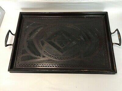 Antique Vintage Ornate Carved Dark Wood Serving Tray With Two Handles