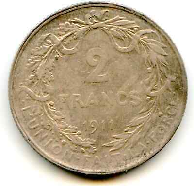 """Belgium 2 Francs 1911 """"ges"""" type nice toned coin   lotmay6108"""