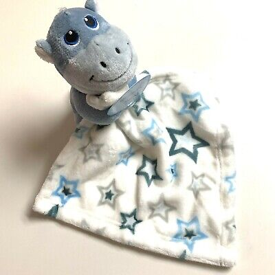 Plush Security Blanket Lovey Snuggle Cuddle New Blue Grey Hippo Stars Lovie