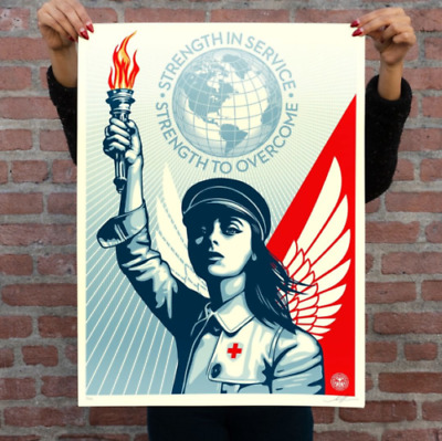 IN HAND * Authentic Obey Giant ANGEL OF HOPE AND STRENGTH Screen Print Poster