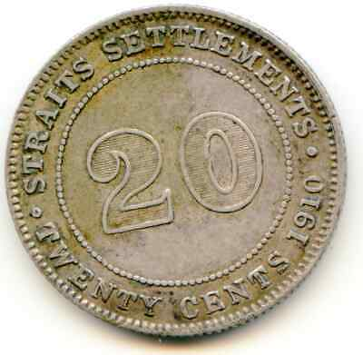 Straits Settlements 20 Cents 1910B Km 22a   nice coin  lotmay6368