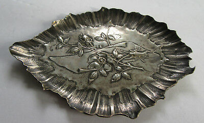 Aesthetic Movement 800 Silver Dish w Insect & Flowers Marked K.W.
