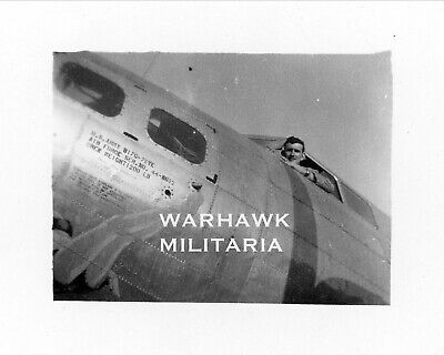 """Org. WWII Photo: US B-17 Pilot In Aircraft, """"Drive It Home"""""""