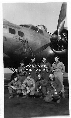 """Org. WWII Photo: US B-17 Crew Posing With Aircraft, """"Miss America"""""""