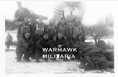 """Org. WWII Photo: US B-17 Crew Posing With Aircraft, """"?"""""""