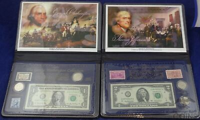 United States George Washington & Thomas Jefferson Currency, Stamp, & Coin Sets!
