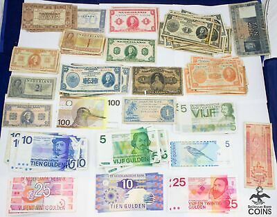 Lot of 102: 1938-97 Netherlands 1-100 Gulden VG CIRC Banknotes Vintage Currency