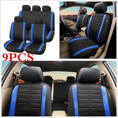 9pcs 3MM Sponge & Polyester Universal Auto Car Front + Rear Seat Cover Protector
