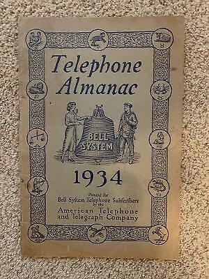 Vintage 1934 Telephone Almanac Bell System Telephone Subscribers AT&T (Charity)