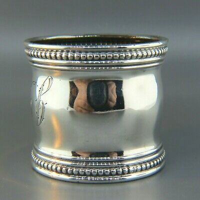 Gorham Sterling Silver Wide Napkin Ring, Beaded & Band Trim