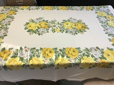 "Vintage Yellow Rose Cotton Tablecloth 72""x60"""