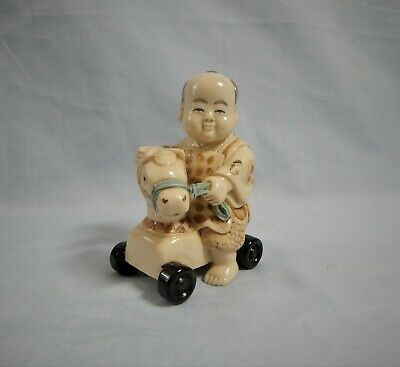 Antique Japanese resin netsuke boy on horse cart mid 1900s retried hand carved 3