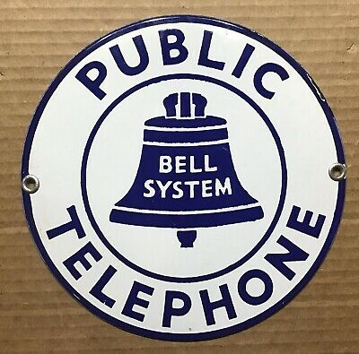 """Bell System Public Telephone Porcelain Enamel Metal Phone Booth Round 7"""" Convex"""