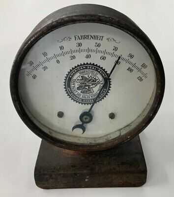Vintage! THERMOMETER American Seal Paint Round Advertising TROY New York ANTIQUE