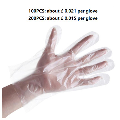 200 × Disposable Transparent Gloves Household Safety Plastic Protective Gloves