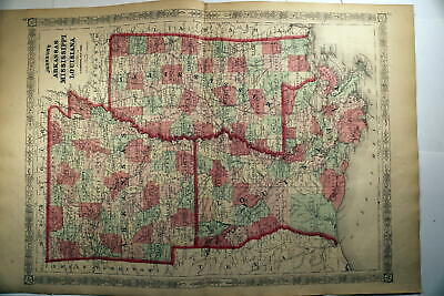1880-1910 Huge Collection-Beautiful Antique Atlas Maps Of Mississippi-Nice Color