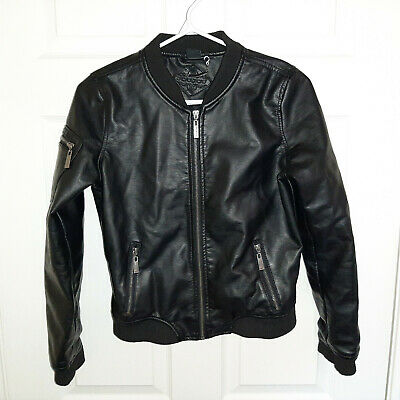 JOUJOU Faux Leather JUNIOR GIRLS - Motorcycle Style BIKER Jacket - sz L - v8964