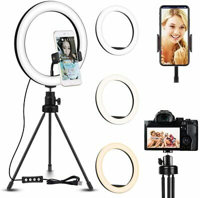 10'' LED Ring Light Phone Selfie Photo Studio Video Dimmable Tripod Stand Lamp D