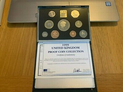 UK British 1999 Proof Coin Set: 1 Penny - Diana £5 Pound by Royal Mint COA