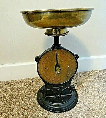 Antique Cast Iron & Brass Salter No 50 Family Scales with Round Pan up to 14lbs