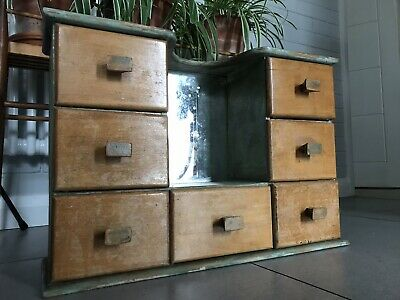 VINTAGE Bank Of Drawers Mid Century ANTIQUE  CUPBOARD unit chic cabinet mirror